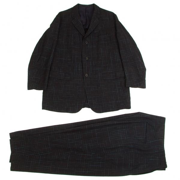 ワイズフォーメンY's for men ウールかすれ格子柄セットアップスーツ 紺青S