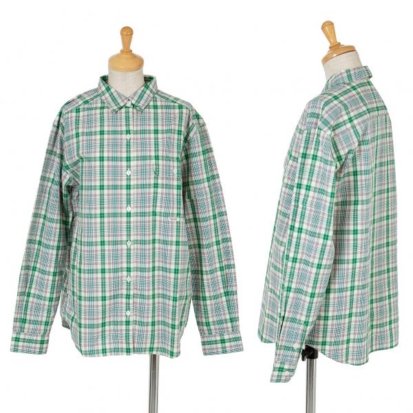 マドモアゼルノンノンMademoiselle NON NON コットンチェックシャツ 緑マルチL