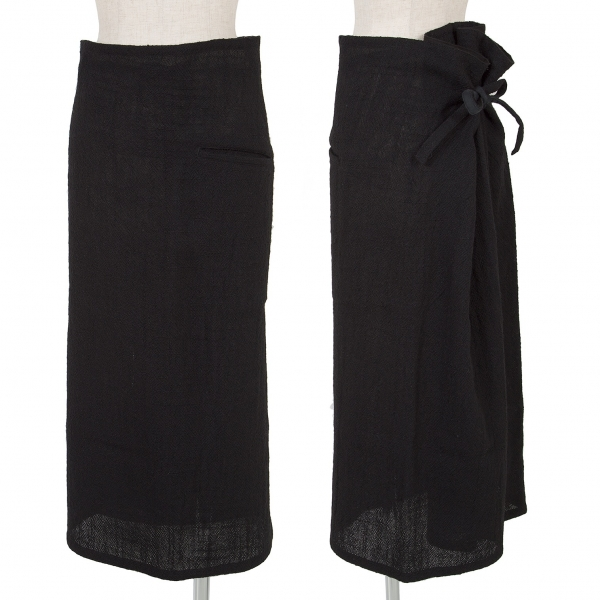 Y's Wool Wrap Skirt Size S-M(K-65738)