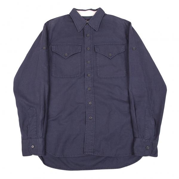 ショット×ビームスプラス Schott×BEAMS PLUSリネンコットンミリタリーシャツ 紺L