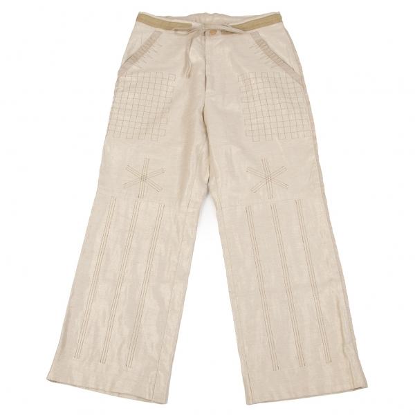 イッセイミヤケ ハートISSEY MIYAKE HaaT コットンリネン刺繍金糸パンツ ベージュ 生成り2