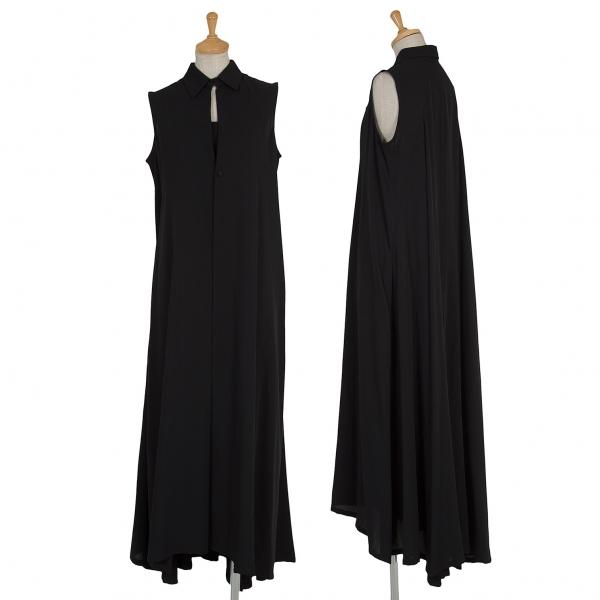 ワイズY's ウール混紡デザインロングワンピース 黒M位