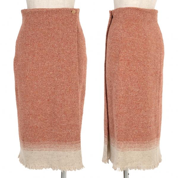 マックスマーラ ウィークエンドMAX MARA WEEKEND 裾フリンジカラー切替ツイードスカート レンガ36