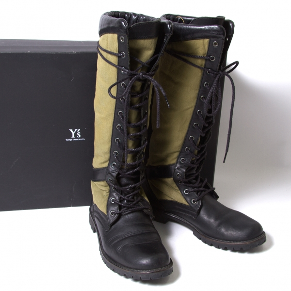 Y's Military Canvas Shift Boots Khaki,Black 4(US About 6.5)