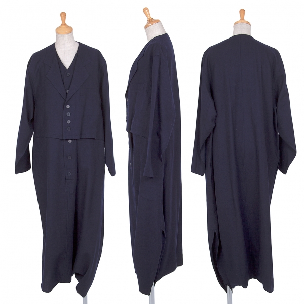 Y's Layered Design Wool Jump Suits Size S-M(K-66611)