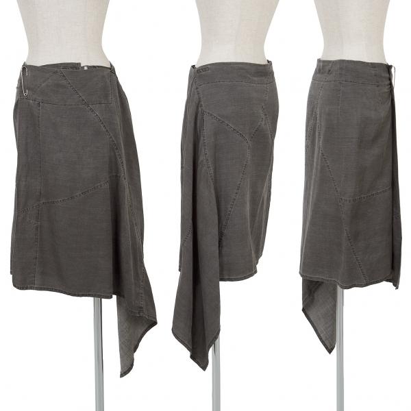 Y's Linen Silk Dyed asymmetrical Wrap Skirt Size 3(K-67170)