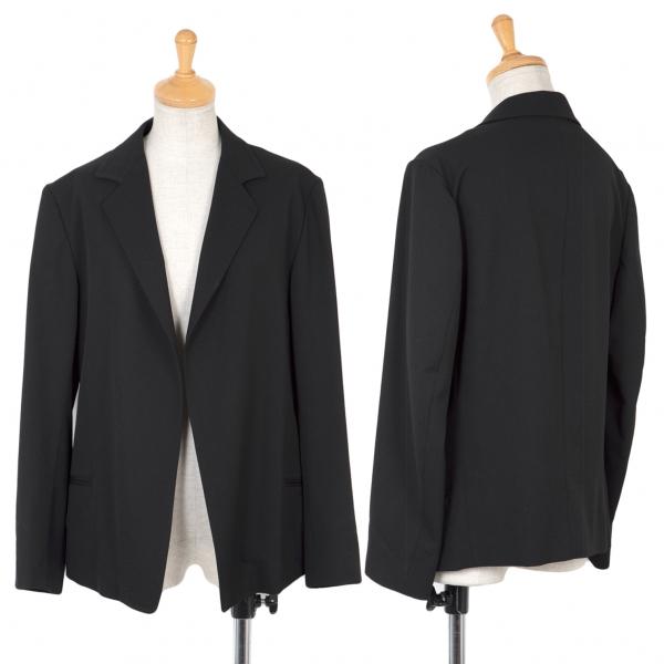 ワイズY's ウールギャバボタンレスジャケット 黒3