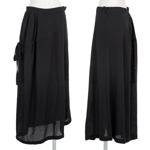 ヨウジヤマモト ファムYohji Yamamoto FEMME サイドギャザーアシンメトリーサマーウールスカート 黒2