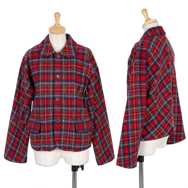 トリコ コムデギャルソンtricot COMME des GARCON 縮絨ウールチェックデザインジャケット 赤M