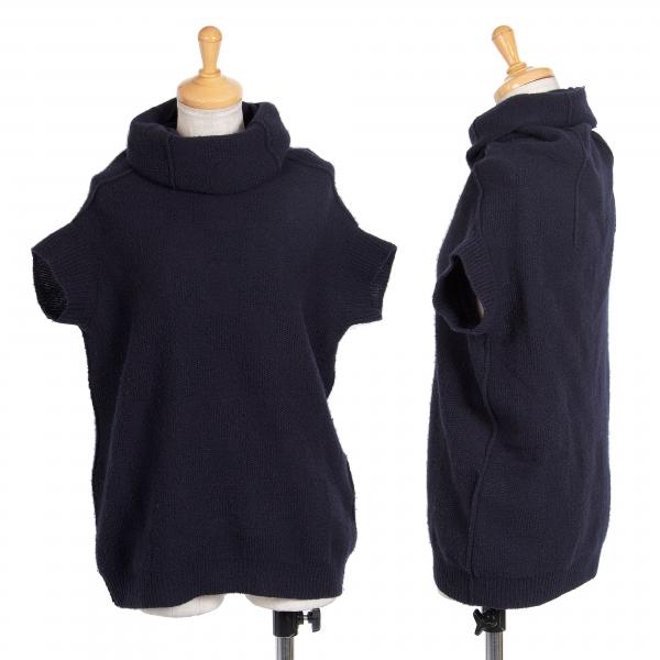 ワイズY's ブロックチェック織りハイネック半袖ニット 紺2