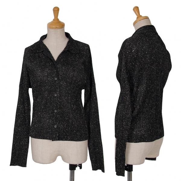 プリーツプリーズPLEATS PLEASE マーブルプリントシャツジャケット 黒ベージュ4