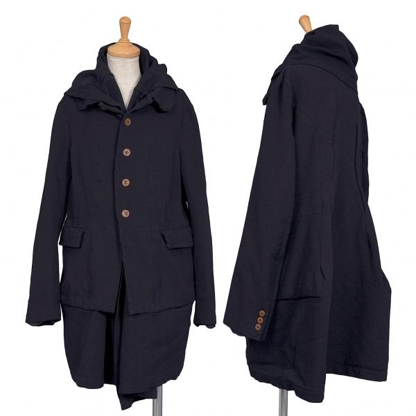 コムコム コムデギャルソンCOMME des GARCONS ポリ縮製品染めレイヤードロングデザインジャケット 紺S