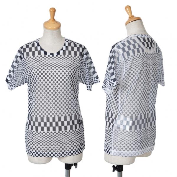 コムデギャルソンCOMME des GARCONS チェッカードットプリントシースルーTシャツ 白黒M位