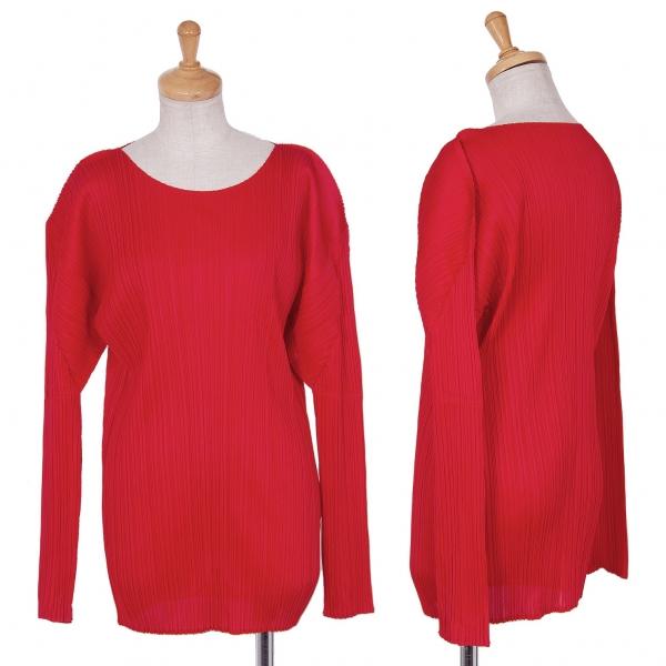 プリーツプリーズPLEATS PLEASE プリーツ長袖Tシャツ 赤4