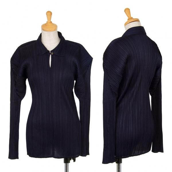 プリーツプリーズPLEATS PLEASE プリーツスキッパーシャツ 紺3