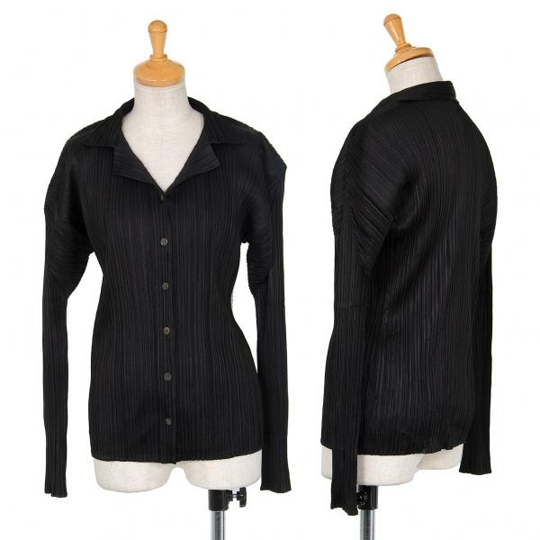 プリーツプリーズPLEATS PLEASE プリーツオープンカラーシャツ 黒3