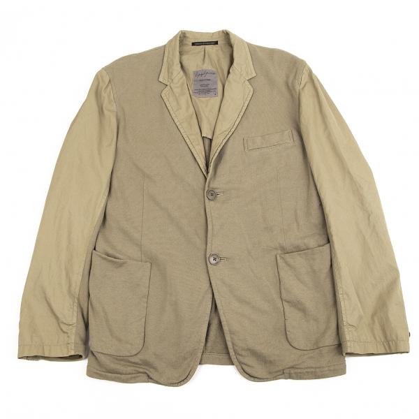 ヨウジヤマモト プールオムYohji Yamamoto POUR HOMME 製品染め異素材切替テーラードジャケット カーキ2