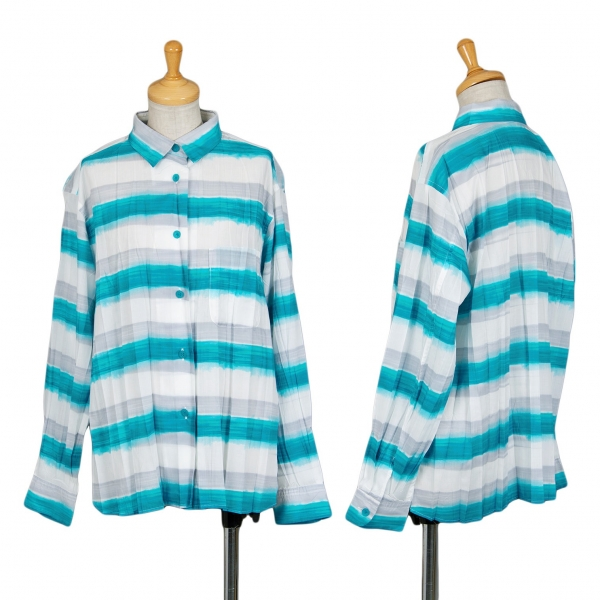 イッセイミヤケISSEY MIYAKE グラデボーダープリーツシャツ 白水色2