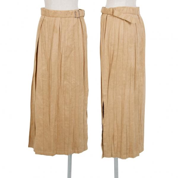 イッセイミヤケISSEY MIYAKE ベルト付きフェイクスウェードプリーツスカート ベージュ1