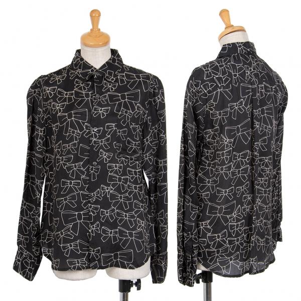 コムコム コムデギャルソンCOMME des GARCONS キュプラリボン柄プリントシャツ 黒生成りSS