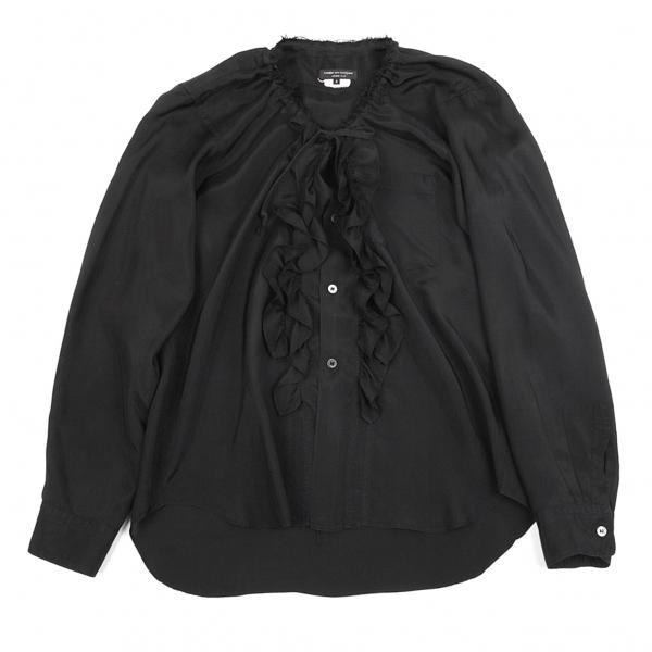 コムデギャルソン オムプリュスCOMME des GARCONS HOMME PLUS キュプラフリル装飾ネック裁ち切りシャツ 黒S