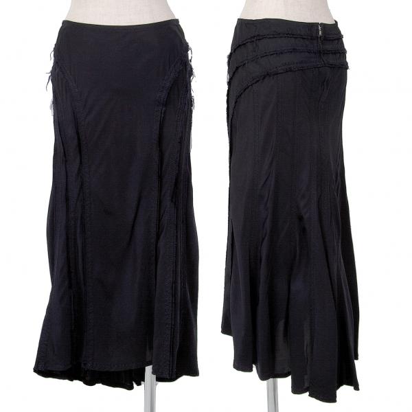 トリコ コムデギャルソンtricot COMME des GARCONS 切替切りっぱなしスカート 紺S