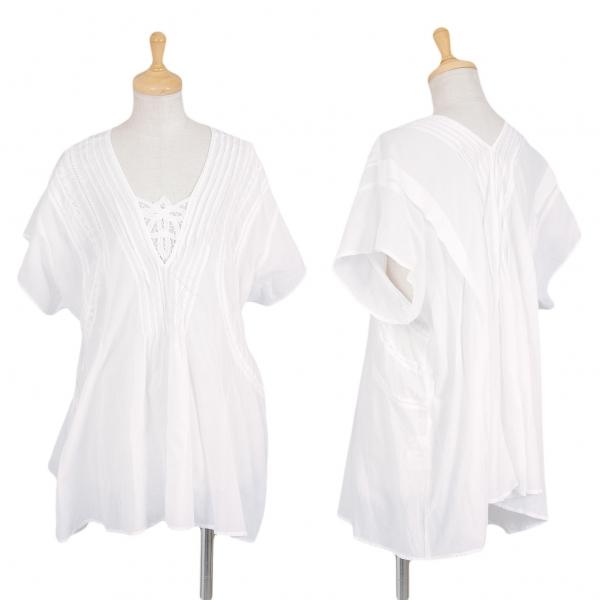 ZUCCA Algodón  Encaje Mangas Cortas Camisa Talla M (K-70551)  al precio mas bajo