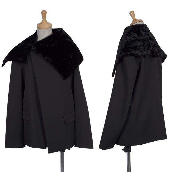トリココムデギャルソンtricot COMME des GARCONS ベルベットカラーウールジャケット 黒M
