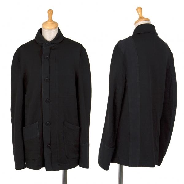 ワイズY's ジャージ生地切替ラウンドカラーシワ加工シャツジャケット 黒2