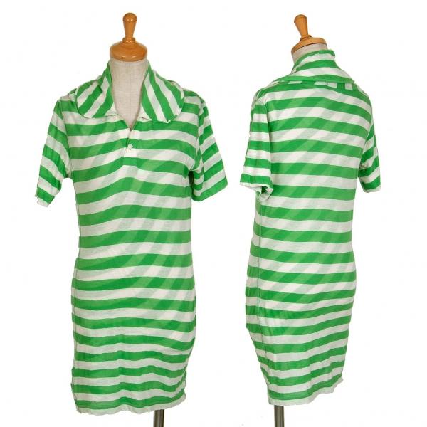 ジュンヤワタナベ コムデギャルソンJUNYA WATANABE COMME des GARCONS コットン二重仕立て斜行ボーダーポロシャツ 緑白S