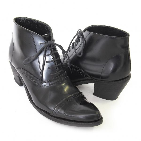 ジュンヤワタナベ コムデギャルソンJUNYA WATANABE COMME des GARCONS レザーメダリオンショートブーツ 黒M(24.5位)