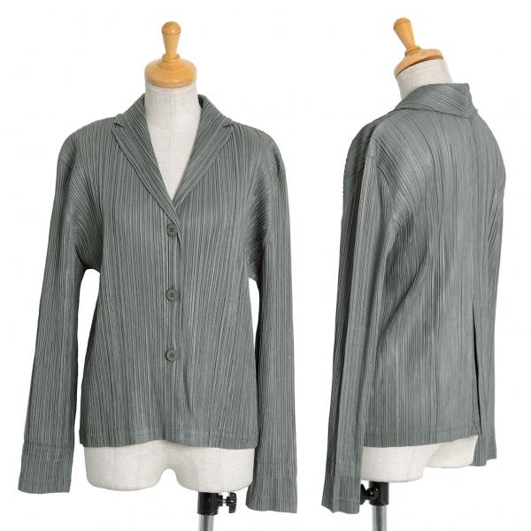 プリーツプリーズPLEATS PLEASE プリーツ3Bシャツジャケット カーキ3