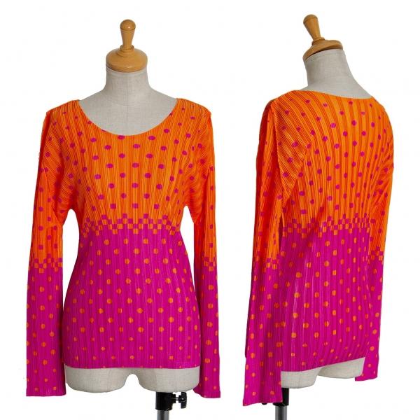 プリーツプリーズPLEATS PLEASE ツートンドット長袖カットソー オレンジ紫5