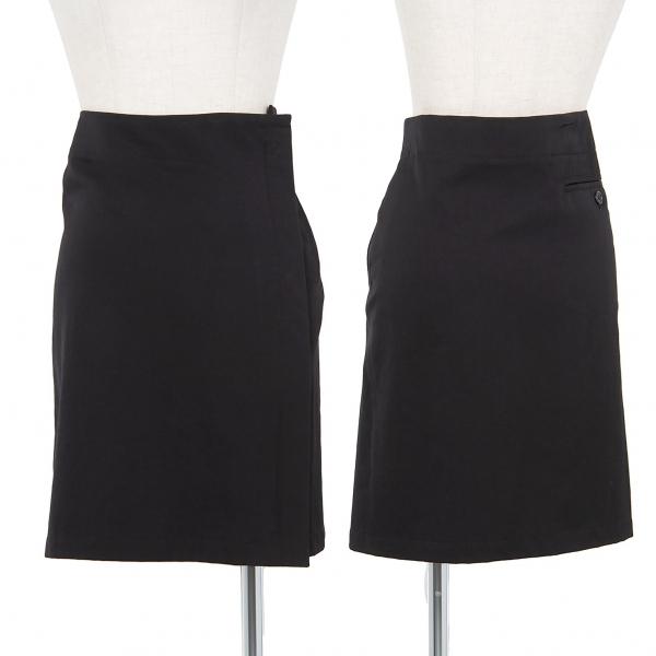 ワイズY's ウールギャバサイドジップスカート 黒1