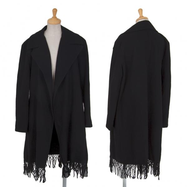 リミフゥLIMI feu ウール裾フリンジボタンレスコート 黒S