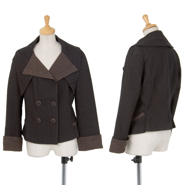 ヒロココシノHIROKO KOSHINO 織ストライプダブルデザインジャケット こげ茶38