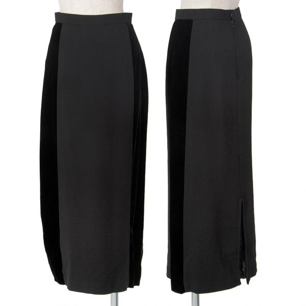 トリココムデギャルソンtricot COMME des GARCONS サイドベロア切替スカート 黒S