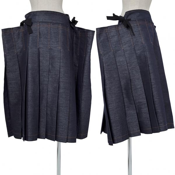 トリココムデギャルソンtricot COMME des GARCONS エステルコットンプリーツ切替スカート インディゴM