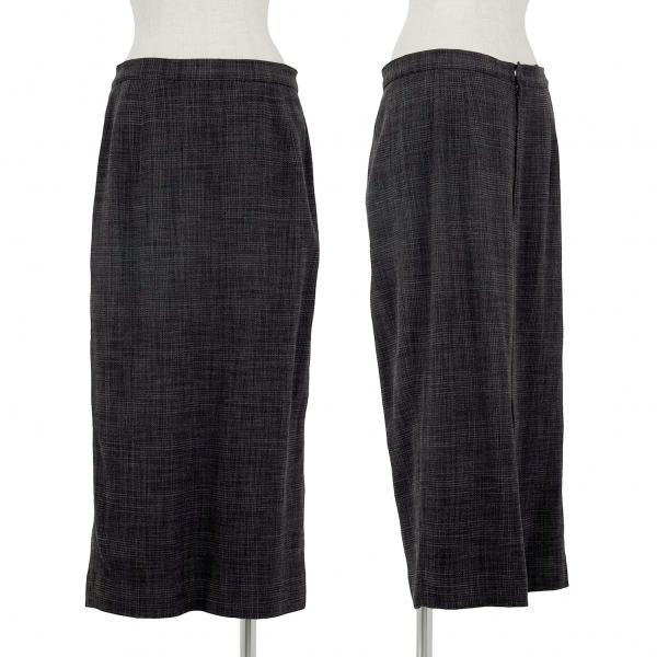 ヨシエイナバyoshie inaba ウールナイロンチェック織りスカート チャコール11