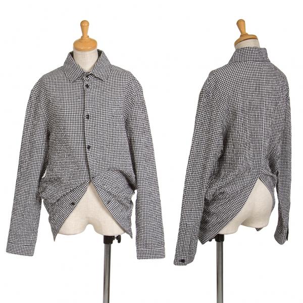 新品!ヨウジヤマモト ノアールYohji Yamamoto NOIR ギンガムチェック燕尾デザインシャツ 黒白2