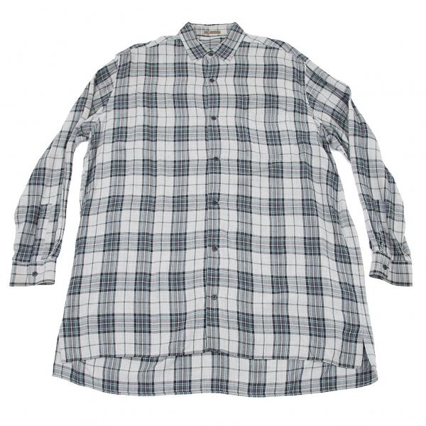 ワイズフォーメンY's for men レーヨンチェックシャツ グレーブルーM位