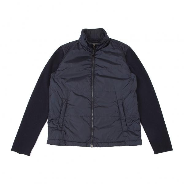 プラダスポーツPRADA SPORT  ウール袖切替中綿ジップナイロンブルゾン 紺52