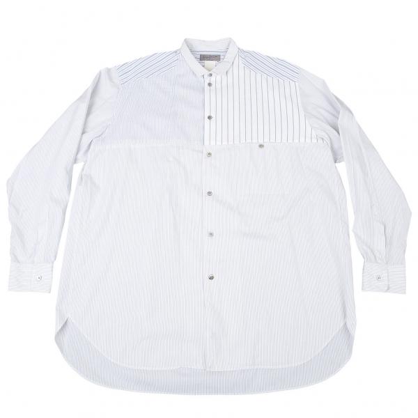ヨウジヤマモト プールオムYohji Yamamoto POUR HOMME ストライプ切替デザインシャツ オフグレーM