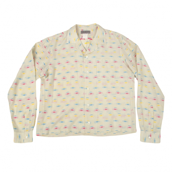 ヨウジヤマモト プールオムYohji Yamamoto POUR HOMME フラワージャカードオープンカラーシャツ 淡ベージュピンクM