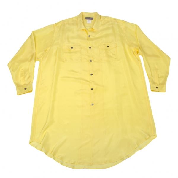 ヨウジヤマモト プールオムYohji Yamamoto POUR HOMME シルクパッチポケットオープンカラーロング丈シャツ 黄M