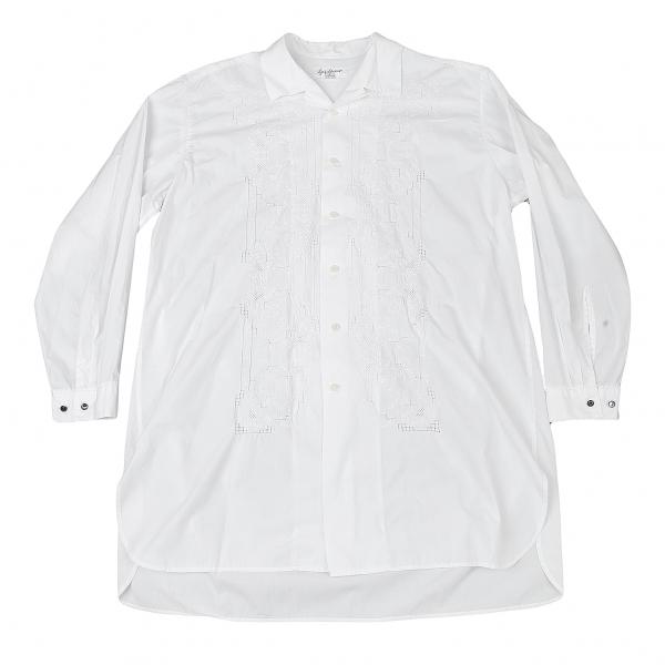 ヨウジヤマモト プールオムYohji Yamamoto POUR HOMME フロントエンブロイダリーレースシャツ 白M位
