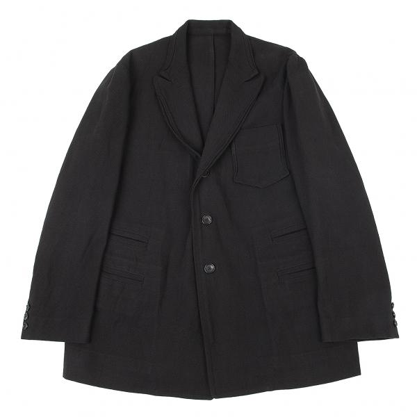 ヨウジヤマモト プールオムYohji Yamamoto POUR HOMME コットンコード織りピークドラペルジャケット 黒M位