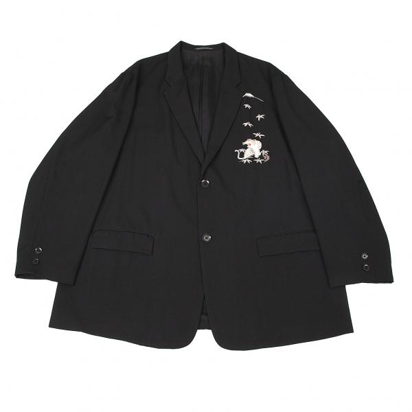 ヨウジヤマモト プールオムYohji Yamamoto POUR HOMME ウールギャバスカジャン虎富士刺繍ジャケット 黒白3