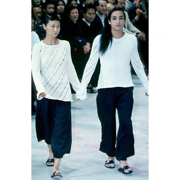 ヨウジヤマモト プールオムYohji Yamamoto POUR HOMME ウールギャバ裾絞りワイドパンツ 黒M