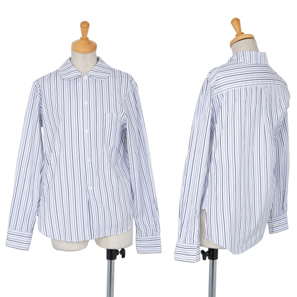 コムコム コムデギャルソンCOMME des GARCONS オルタネイトストライプラウンドカラーシャツ 白青XS